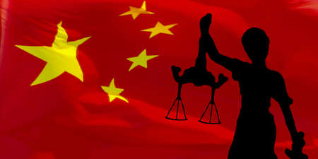 Black silhouette of a statue of Justice on the Chinese flag Stock Photo