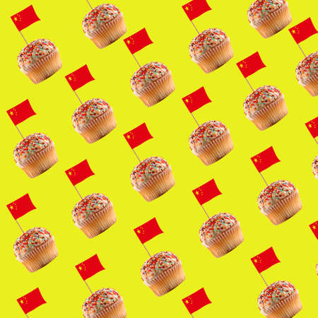 Seamless pattern of muffin with Chinese flag on the yellow background