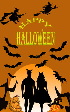 Silhouette of Halloween couple on the dark orange background