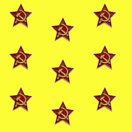 Seamless pattern of red star with hammer and sickle on the yellow background