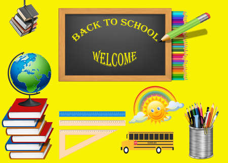 Back to school inscription with elements of school supplies on the green background