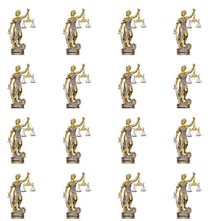 Seamless pattern Statue of justice on the white background Stock Photo