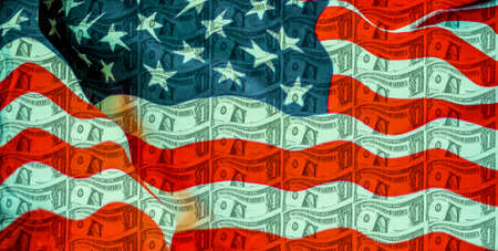a background of one US dollar banknote with the flag of the United States