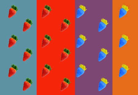 Pattern of red and blue strawberries on the multicolored backgrounds