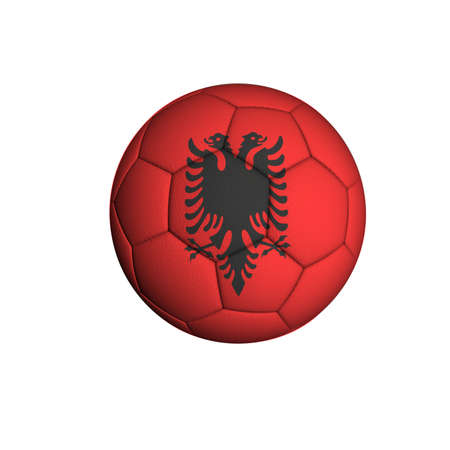 Soccer ball with an Albanian flag isolated on white background Stock Photo