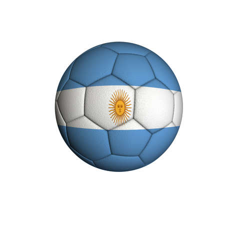 Soccer ball with an Argentine flag isolated on white background