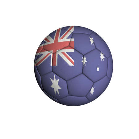 Soccer ball with an Australian flag isolated on white background