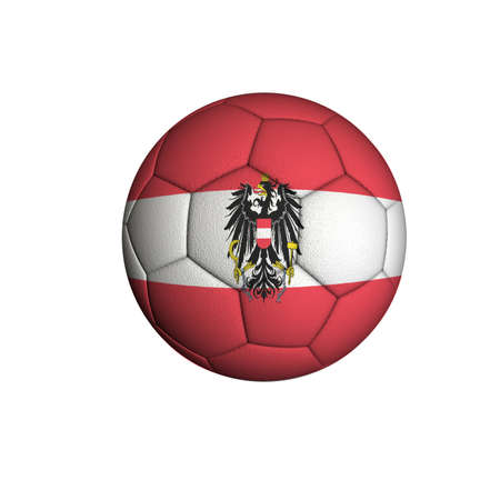 Soccer ball with an Austrian flag isolated on white background Stock Photo