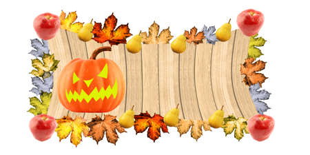 Halloween pumpkin on a wooden background with fruit and autumn leaves