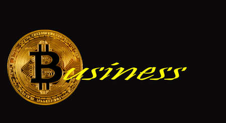 word business with bitcoin gold coin on a black background Stock Photo - 144279056