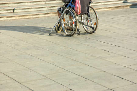 Back view of disabled man in wheelchair