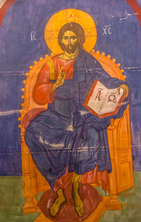 Old blue orthodox icon of Jesus Christ the Pantocrator Editorial
