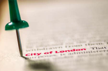 Dictionary definition of London. Selective focus