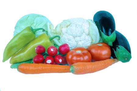 diverse fresh vegetables isolated on a white