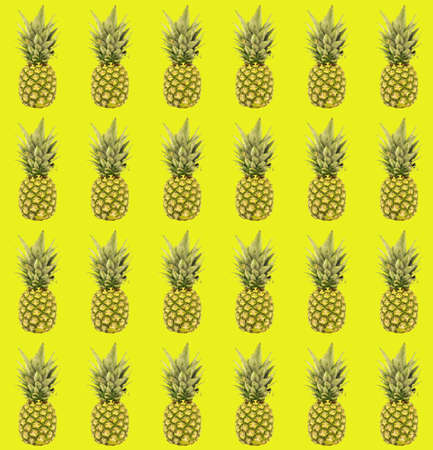 seamless pattern of pineapple on the yellow background