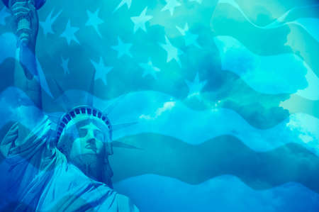 Statue of Liberty with clouds and United States flag in blue tone Stock Photo