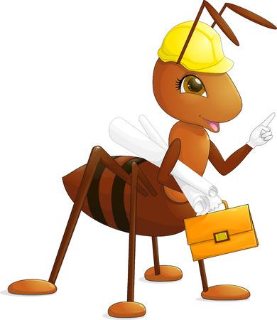 costruttore architetto ingegnere Formica rossa con le antenne e gli occhi marroni in un casco giallo costruzione con il disegno e valigetta arancione con chiusura