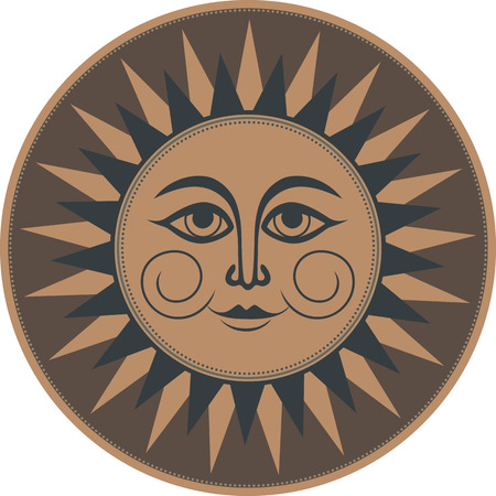 occult: Vintage brown ethnic ornament mural occult smiling sun.