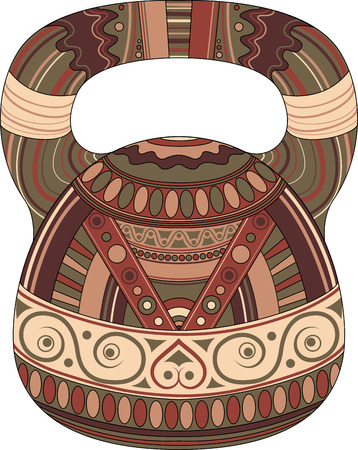 One color kettlebell on white background with ethnic pattern.  Kettlebell stylized like aztec ornament art. Illustration