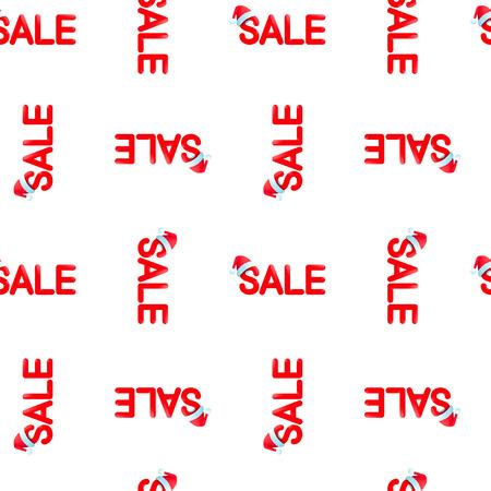 Seamless vector pattern Chrismas sale with red hat on white background, EPS 10. Ilustração