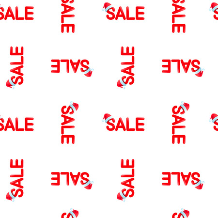Seamless vector pattern Chrismas sale with red hat on white background, EPS 10. Illustration