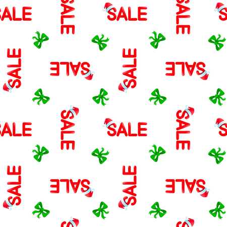 Seamless vector pattern Chrismas sale with red hat ande green ribbon on white background, EPS 10.