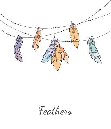 Ethnic colorful decorative feathers hanging on a string on light background. Minimal vector illustration for print, web, poster, t-shirt.