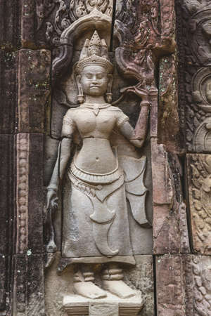 Carved structure and relief in Angkor Wat Temple. Siem Reap, Cambodia