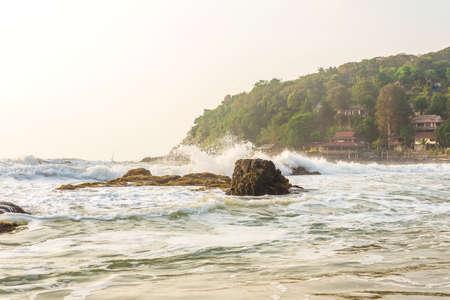 Exotic Koh Lanta Beach, Krabi Province, Thailand. Sea and rocks in cloudy day. Stock Photo