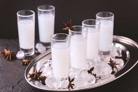 Arabic alcohol drink Raki with anis and ice.Turkish and Greek Traditional aperitif arak, Ouzo