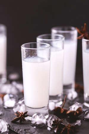 Arabic alcohol drink Raki with anis and ice.Turkish and Greek Traditional aperitif arak, Ouzo