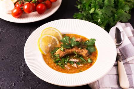 israeli: Traditional jewish wedding and holyday Yemenite vegetable beef soup Marak Temani. Yom Kippur. Israeli cuisine Stock Photo