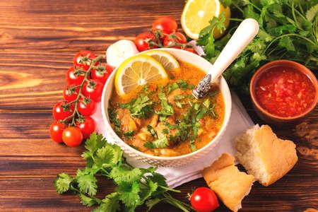 Traditional jewish wedding and holyday Yemenite vegetable beef soup Marak Temani. Yom Kippur. Israeli cuisine Stock Photo