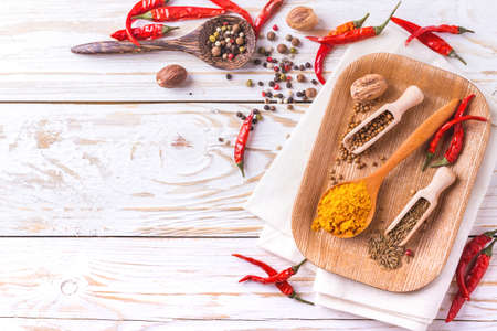 spice: Indian Asian spices on white background. Copyspace. Top view