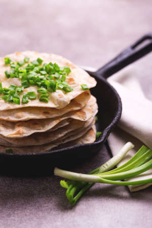 Traditional Kerala Indian cuisine. Homemade flatbread chapati with green onion on gray slate background. Copyspace, horizontal view, flatlay. Color surge trend. Stock Photo