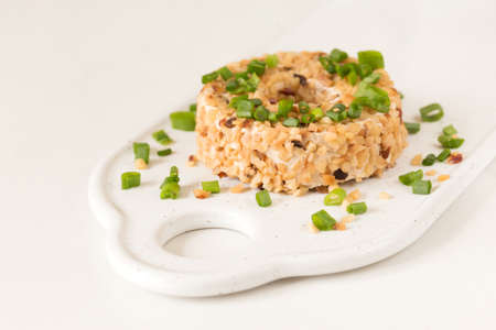 Cream cheese with green onions and herbs, dip sauce. Breakfast concept