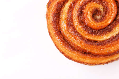 Danish cinnamon buns or cinnabons. Sweet, homemade pastry for breakfast.