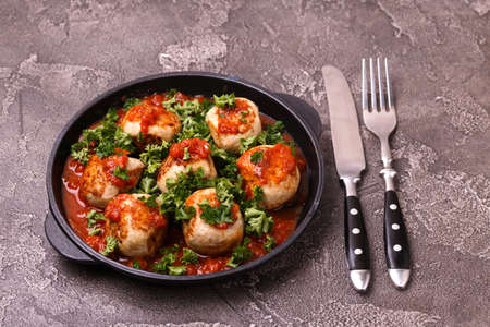 Homemade swedish meatballs with tomato sauce marinara and parsley 스톡 콘텐츠
