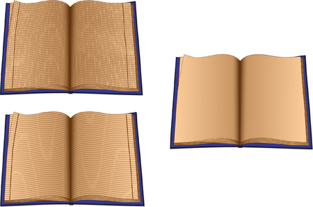 books isolated: Three ruled books isolated on white background Illustration