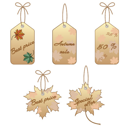 Set of maple leaf label isolated on a white background Vector