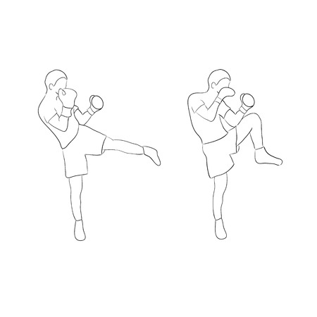 contender: Two boxers doodle isolated on white background