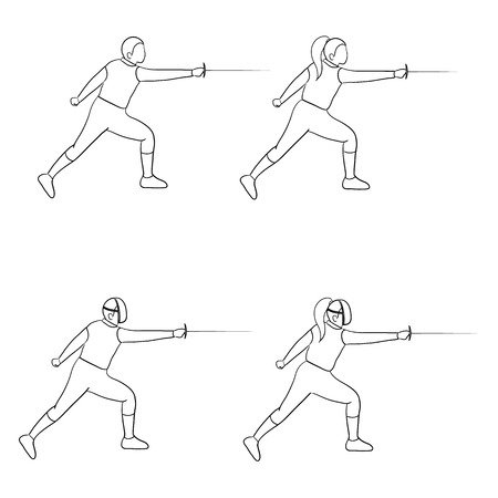 swordsmanship: Fencing doodle man and woman isolated on white background.