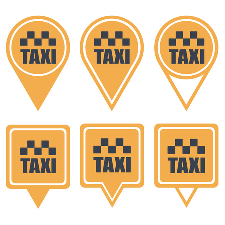 Navigation yellow pins for taxi isolated on white background Vector