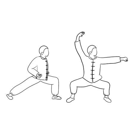 wushu: Wushu Doodle isolated on white background