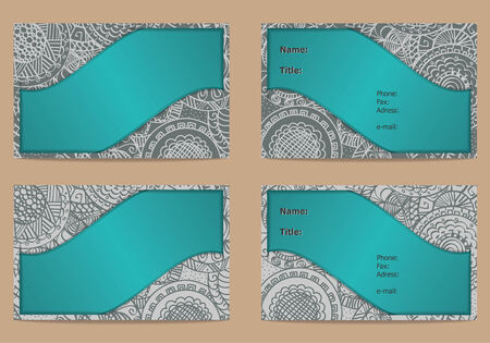 Set of business card with hand drawn ornament isolated on light background Vector