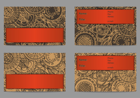 Set of business card with hand drawn ornament isolated on a light background Vector