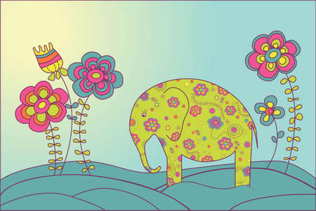 cartoon elephant: Elephant stands on a meadow surrounded by flowers Illustration