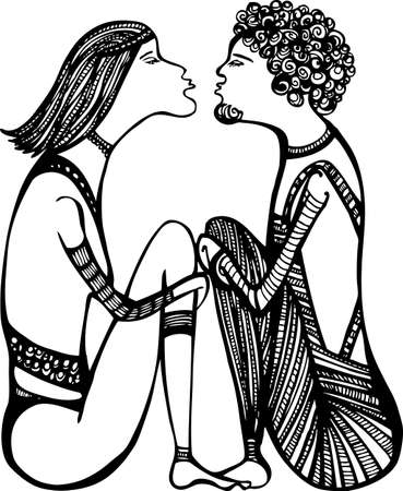 Sketch of a love couple, ready to kiss  black and white drawing