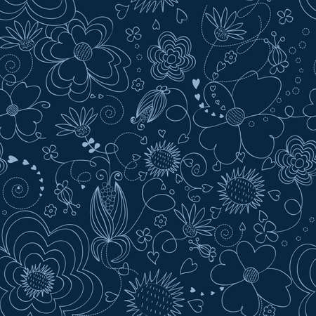 Dark blue floral seamless pattern Illustration