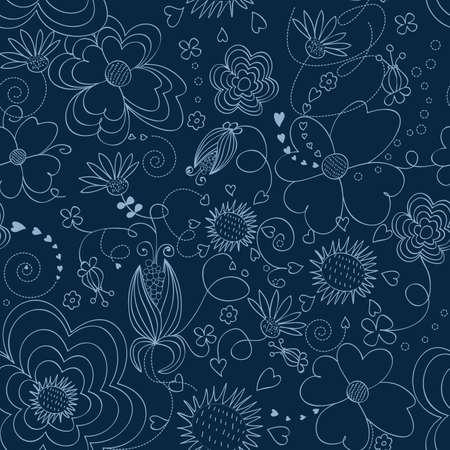 Le bleu foncé motif floral transparente Vecteurs